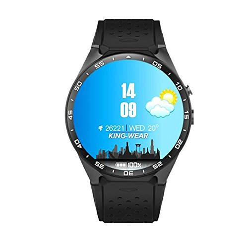 Tonsee KW88 Android 5.1 Quad Core 4GB Bluetooth 3G Smart Watch GPS WIFI For IOS Samsung, Black