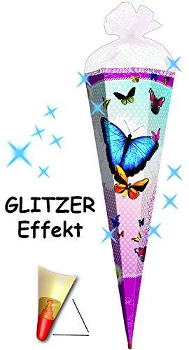 alles-meine.de GmbH mit 3-D Glitzer Effekt ! - Schultüte -  Bunte Schmetterlinge  - 70 cm - Rund.. (Mädchen Lila Blüten)