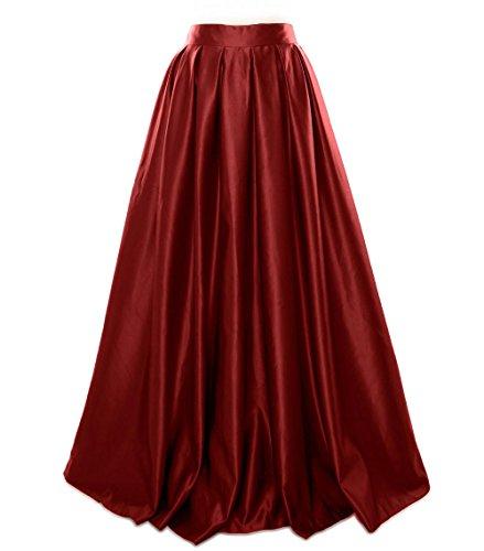MACloth Women Long Satin Prom Party Formal Evening Dress Skirt Burgundy