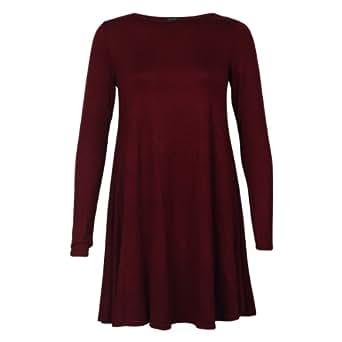 My1stWish Women's Long Sleeve Casual Dress 8 / 10 Burgundy Red