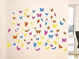 Wandtattoo 3048 Schmetterlinge 4 Farben, Sehr grosses Format Breite: 60 cm, Höhe: 60 cm XXL. Decosticker Wandaufkleber Wandsticker Dekoration wiederablösbar. Günstiger als Bilder oder Gemälde oder Bild