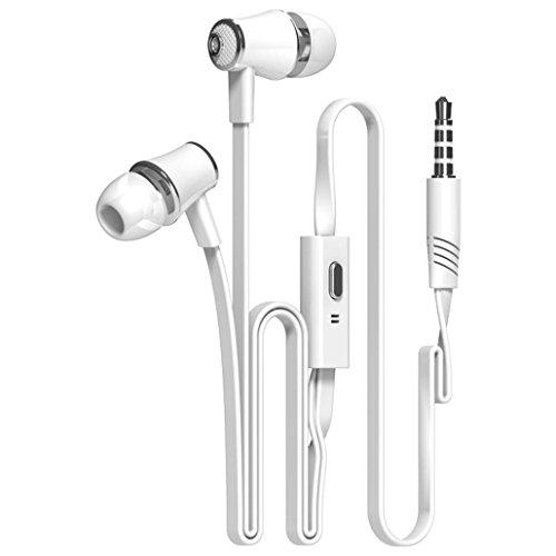 Tefamore Auriculares Estéreo De 3.5mm Con Micrófono En-Oído Para Teléfono Móvil (Blanco)