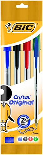 Pack de bolígrafos «Bic Cristal» originales con punta de 1 mm