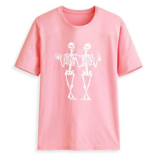 Tyoby Damen Sommer Mode Gefallener Engel Bedrucktes Kurzarm-T-Shirt Freizeit Lose Frau Oberteil(Rosa,S)