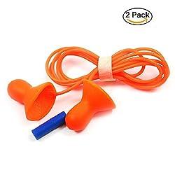 Fancyku Anti-noise Earplugs Professional Noise Reduction Waterproof Swimming Sleep Quiet Corded Reusable Earplugs Orange 2 Pairs