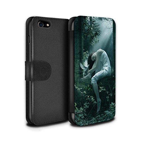 Officiel Elena Dudina Coque/Etui/Housse Cuir PU Case/Cover pour Apple iPhone 8 / Pack 18pcs Design / Les Oiseaux Collection Âmes Blanches/Des Bois