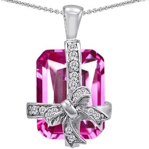 Star (tm) K con zaffiro rosa, taglio a smeraldo, simulazione confezione regalo-Ciondolo in argento Sterling 925