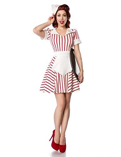 Atixo Diner Waitress Komplettset - weiß/rot, Größe (Kostüme Kellnerin Diner)
