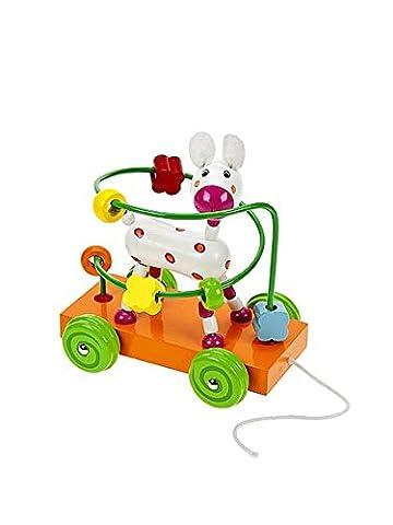 Jouet à tirer en bois premier age pour bébé ou enfants garçons ou filles - Labyrinthe chariot un chien