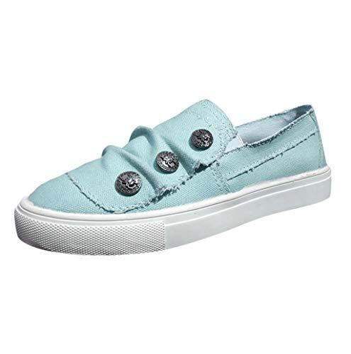 Damen Slipper Frauen Slip On Classic Shoes Platform Slip-On Sneaker Allover Denim Bequem Leder Elastisch Stoffschuhe Espadrilles Alpargata mit Knopf Low-Top Loafers TWBB -