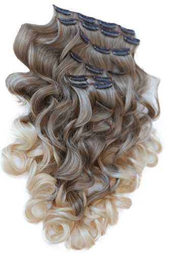 PRETTYSHOP XL 7 Teile Set Clip in Extensions 60cm Haarverlängerung Haarteil gewellt Ombré Two-Tone braun blond #12T613 CE20-1