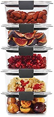 Rubbermaid 2108398 Leak-Proof Brilliance Food Storage Set | 1.3 Cup Plastic Containers with Lids | Microwave a