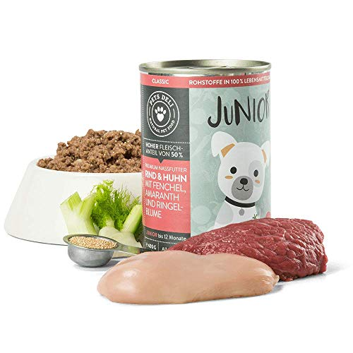 Junior Hundefutter nass 2,4 kg - 6er-Pack | Premium-Qualität | Rind & Huhn mit Fenchel | Nassfutter für Hunde mit 50{7b58b419e555918ab553a6477ee090aaefae090da6dd61fab8e91cab0540827c} Fleischanteil, getreidefrei und ohne unnötige Zusätze