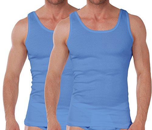 2er Pack - Herren Unterhemd Feinripp Exclusive - Carolina Blue - Gr. 8 Carolina 8