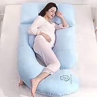 AFQHJ Pregnant women pillow waist side pillow, multi-function u-shaped pillow, ergonomic design pregnancy cushion (185cm × 80cm) (Color : A)