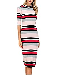 7d9c03cf47b5 CHIC DIARY Frauen Damen elegant Midi Kleid halbarm gestrick knielang Bodycon  elastisch Strickkleid Etuikleid Midikleid mit mehrfarbig…