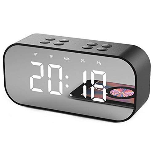 YDLN Bluetooth-Lautsprecher Digitaluhren Bedside mit dimmbarer Auto-Subwoofer tägliche Leben im Büro von Kindern-Black