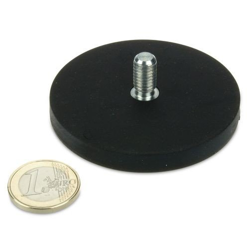 Magnetsystem Ø 66 mm gummiert mit Gewinde M8x15 - hält 25 kg