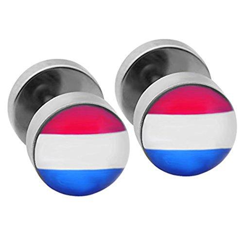 JS Direct - 2pcs Punk Faux Plug Ecarteur Motifs Acier Inox Fake Piercing Clous d'oreille 618# Le Drapeau National de la Hollande