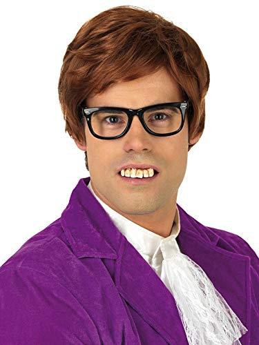 shoperama Schiefe gelbe Austin Powers Nerd Zähne mit Belag Kostüm-Zubehör falsches Gebiss ()