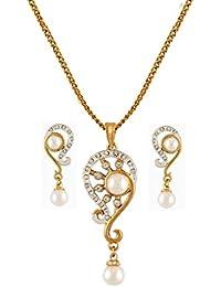 Pendant Set American Diamond24k Gold Plated Bollywood Elegant PearlDesigner Pendant Set For Women-CPS8070 By...
