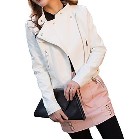 Ghope Veste en simili cuir Femme Manteau a Fermeture éclair Kurz Courte Blouson ,Blanc XL