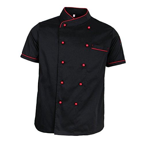 Perfeclan hotel chef di cucina uniforme manica corta giacca camicia fibbia a doppio petto cameriere cuoco vestiti - nero, l