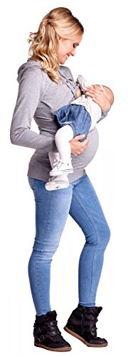 Happy Mama. Femme Sweat à Capuche d'allaitement Double Couches Maternité. 272p Gris Chiné