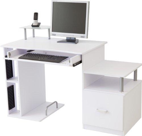 Computertisch PASCAL in 3 Farben: Weiss / Buche / Ahorn (Weiss)