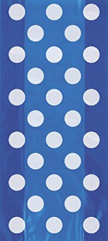 Cellophane Royal Blue Polka Dot Party Bags, Pack of 20