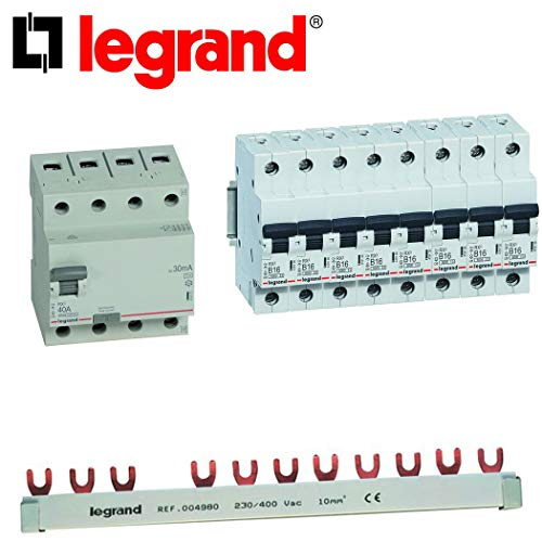 Legrand Einbaugeräte Set 1x FI 30mA 4-polig / 8x LS-Schalter B16A 1-polig + 1x FI-Kammschiene
