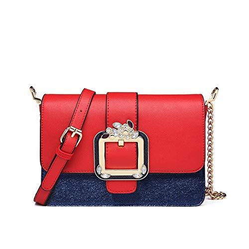 YZJLQML Ladies bagFashion Chain kleine Tasche Damen Schulter Diagonale Tasche Handtasche @red