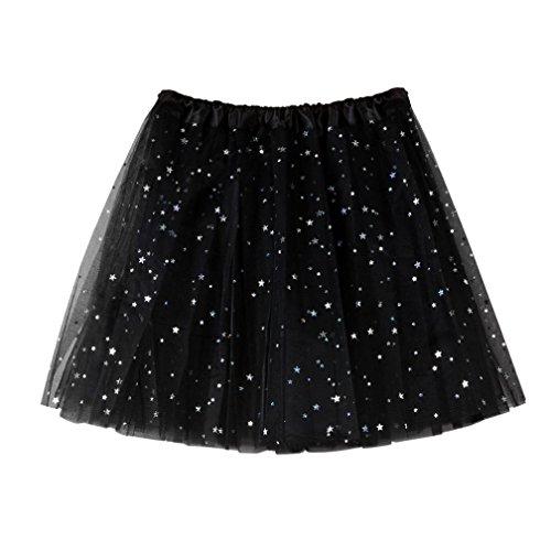 MCYs Damen Star Pailletten Petticoat Kurz Rock