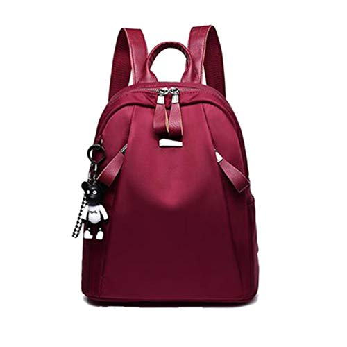 Wenwenzui Shoulder Bag Female Tide Retro Backpack Wild Casual Travel Ladies Backpack Red -