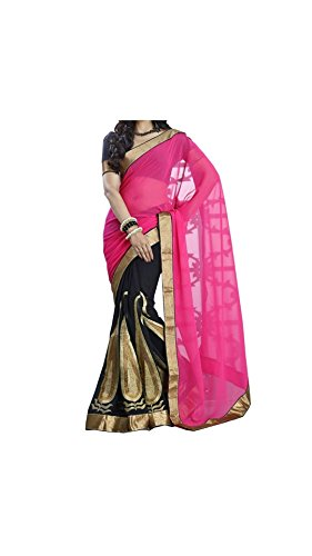 Vipul Women's Branded PINK & BLACK Party Wear Georgette Saree ( Bollywood Designer Saree With Designer Blouse Best Gift For Mummy Mom Wife Girl Friend, Exclusive Offers and Sale Discount 2017 )  available at amazon for Rs.467