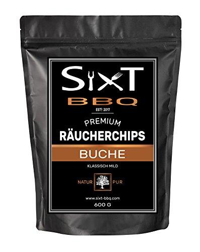 Räucherchips BUCHE PREMIUM Original von Sixt-BBQ, Wood-Chips für Kugelgrill & Barbecue, Rauch durch Holz-Späne, für Gas/Elektro/Kohle-Grill