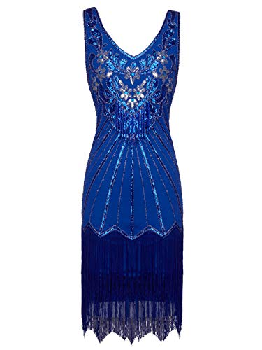 FAIRY COUPLE 1920er Gatsby Kurz Pailletten Flapper Kleid Quasten Saum Abschlussball Cocktail D20S020(M, Blau) (1920 Flapper Kleid)