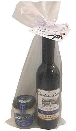 Detalle con vino original para regalo de empresas botella de vino plástico más 1 tarro cristal de crema de queso de 30 gr más 1 bolsa de organza blanca de 12 x 27 cm es una combinación perfecta para detalle de tus invitados Ojo: estos artículos se en...