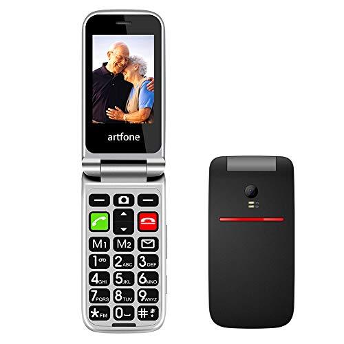 artfone CF241A Seniorenhandy ohne Vertrag | Dual SIM Handy mit Notruftaste | Rentner Handy gro?e Tasten | 2G GSM Klapphandy| Gro?tastenhandy mit Ladeger?t und Kamera | 2,4 Zoll Farbdisplay(Schwarz)