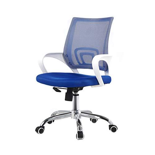 Szq staff sedia girevole, net sedia traspirante confortevole facile da pulire sedia camera da letto soggiorno studio casa sedia ufficio personale sedia confortevole (colore : blu)