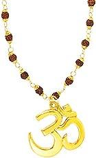 Shining Jewel 24K Gold Plated Om Rudraksha Pendant Necklace For Men (SJ_2355)