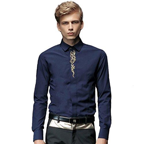 FANZHUAN Camice Uomo Elegante Bianche Rosse Classica Maniche Lunghe Men Shirt