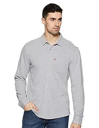 Levi's Men's Plain Slim fit Casual Shirt (84269-0003_Grey M)