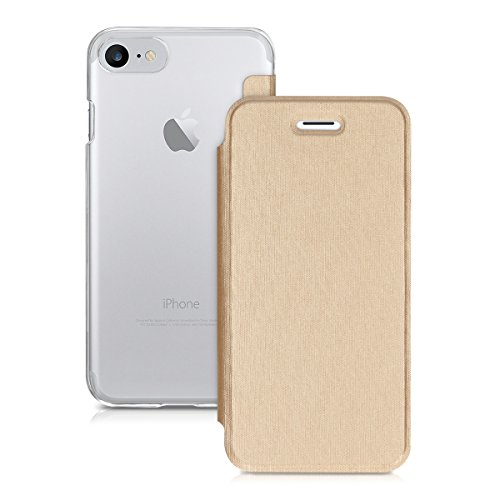 kwmobile Hülle für Apple iPhone 7 / 8 - Bookstyle Case Handy Schutzhülle Kunststoff - Flipcover Klapphülle Rosegold Transparent .Gold Transparent