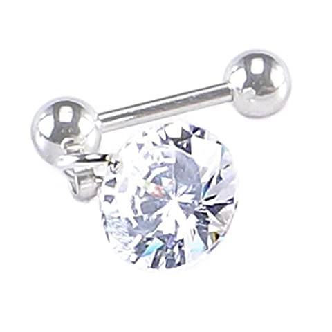 Clear Cubic Zirconia Diamond shaped Dangle Cartilage | Tragus | Lobe Earring 16 Gauge (1.2mm x 8mm)