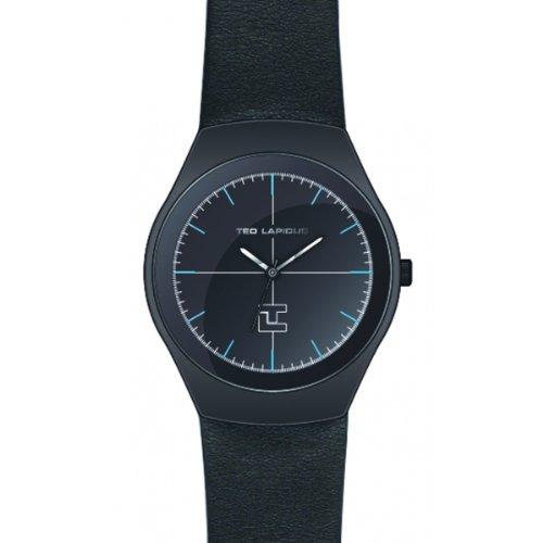 Ted Lapidus - 5122803 - Montre Homme - Quartz Analogique - Cadran Noir - Bracelet Cuir Noir