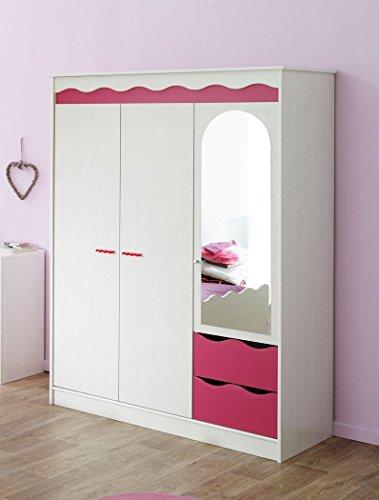 Kleiderschrank Lilan 4 weiß pink, Kinderzimmerschrank Mädchen, Schrank Mädchenzimmer Jugendzimmer