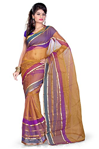 Araham Brown Light Weight Faux Tissue Saree Sari with Blouse