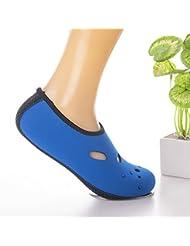 LinTimes adulto Fin de corte bajo calcetines antideslizante calcetines de pies descalzos Barefoot zapatos transpirable calcetines de neopreno para deportes acuáticos snorkel buceo natación surf, azul, XL