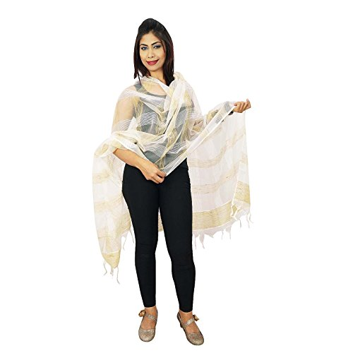 Belle soie organza Dupatta longue étole Chunni Neck Wrap Off White et Brown-1